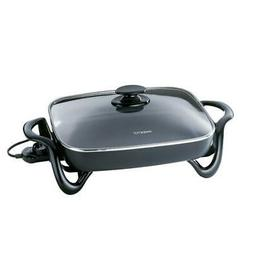 16 in. Non-Stick Electric Skillet with Glass Lid & Recipe Bo