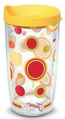 Tervis 16 oz Fiesta Sunny Dots Tumbler Mug Travel Cup w/ Lid