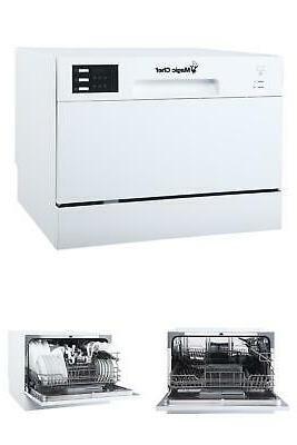 countertop dishwasher portable in white with 6