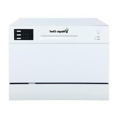 Magic Chef Countertop Portable Dishwasher Settings Capacity White