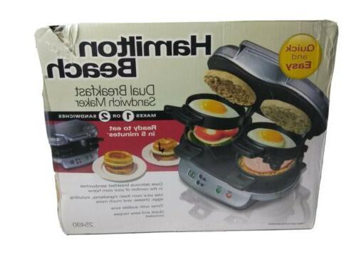 silver dual breakfast sandwich maker w timer