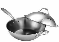 Wok Stir Fry Pan Lid Frying Stainless Steel Dishwasher Oven