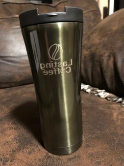 Lasting Coffee Stainless Steel Travel Mug - Spill Proof Dish